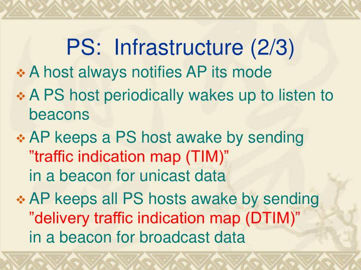 PS:  Infrastructure (2/3)