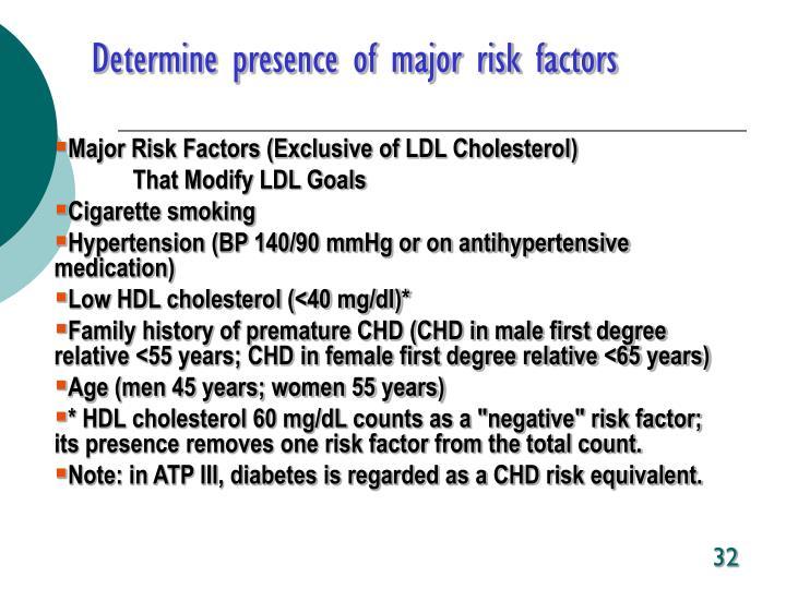 Determine presence of major risk factors