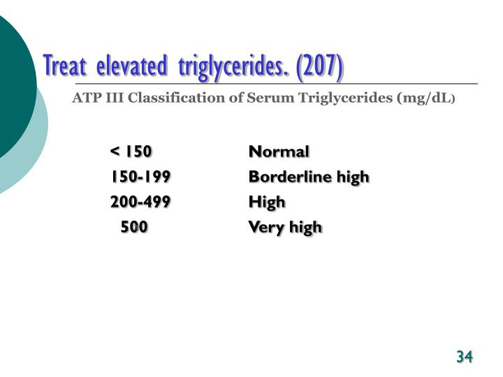 Treat elevated triglycerides. (207)