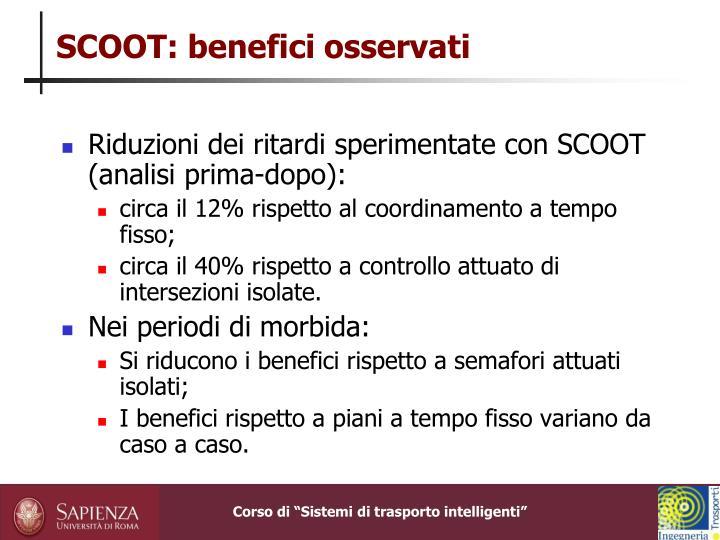 SCOOT: benefici osservati