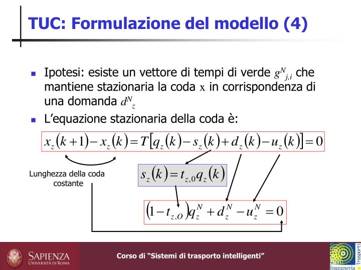 TUC: Formulazione del modello (4)
