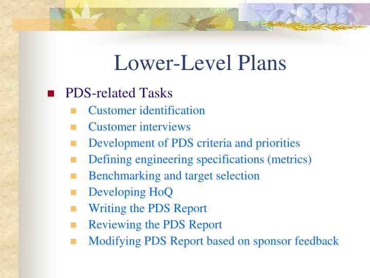 Lower-Level Plans