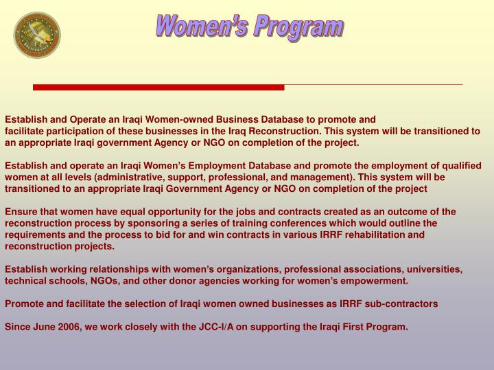 Establish and Operate an Iraqi Women-owned Business Database to promote and