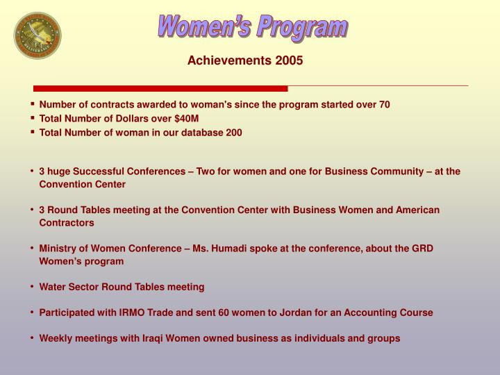 Achievements 2005