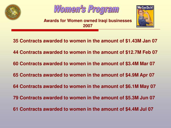 Awards for Women owned Iraqi businesses 2007