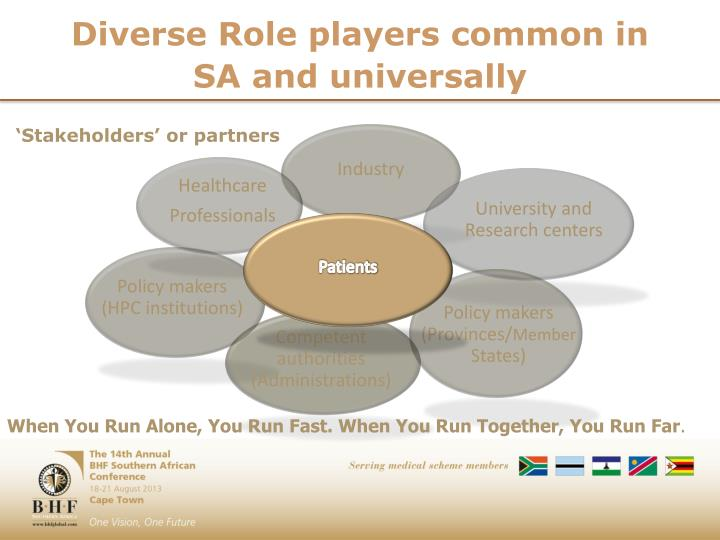 Diverse Role players common in SA and universally