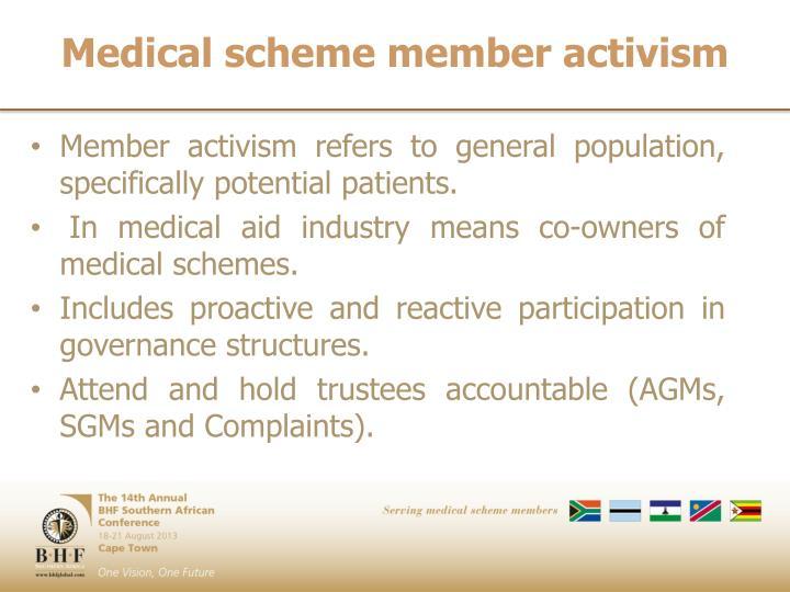 Medical scheme member activism