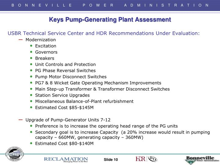 Keys Pump-Generating Plant Assessment