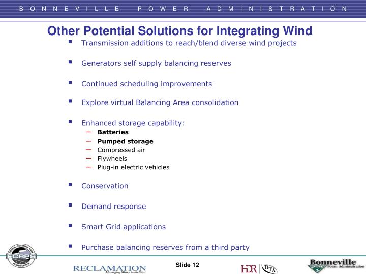 Other Potential Solutions for Integrating Wind