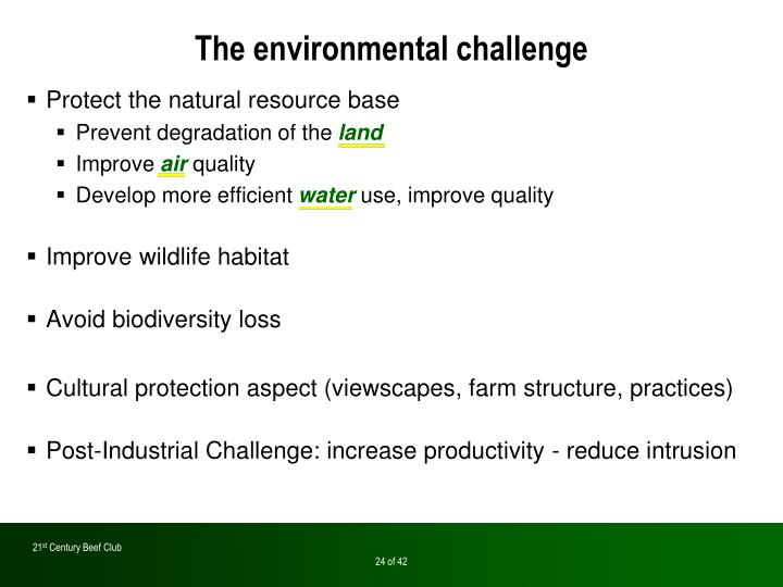 The environmental challenge