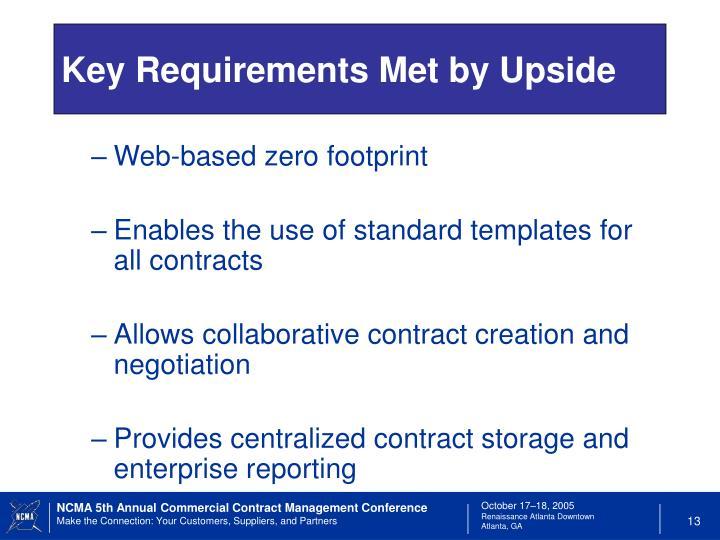 Key Requirements Met by Upside