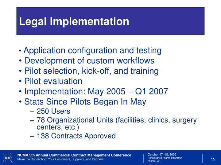 Legal Implementation