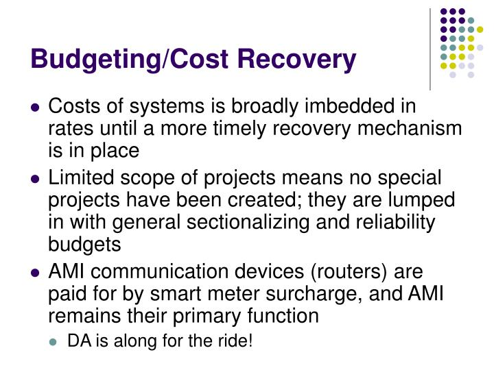 Budgeting/Cost Recovery