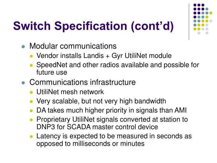 Switch Specification (cont'd)