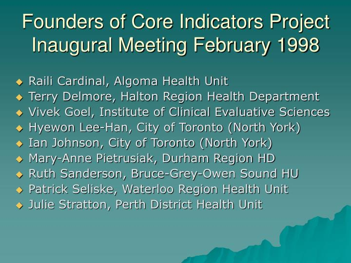 Founders of core indicators project inaugural meeting february 1998