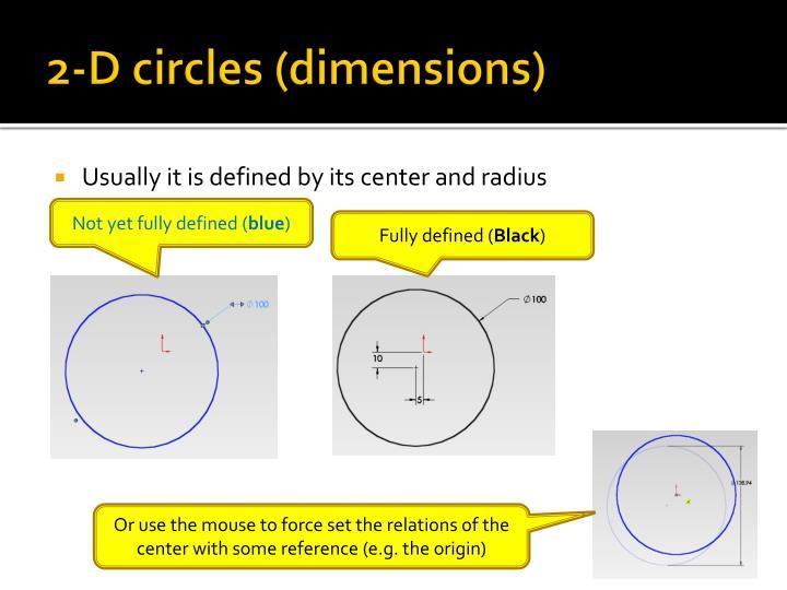 2-D circles (dimensions)
