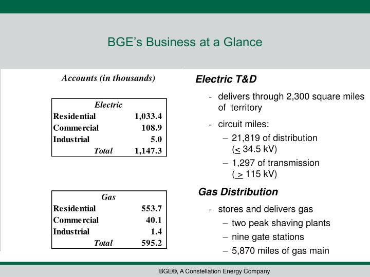 BGE's Business at a Glance
