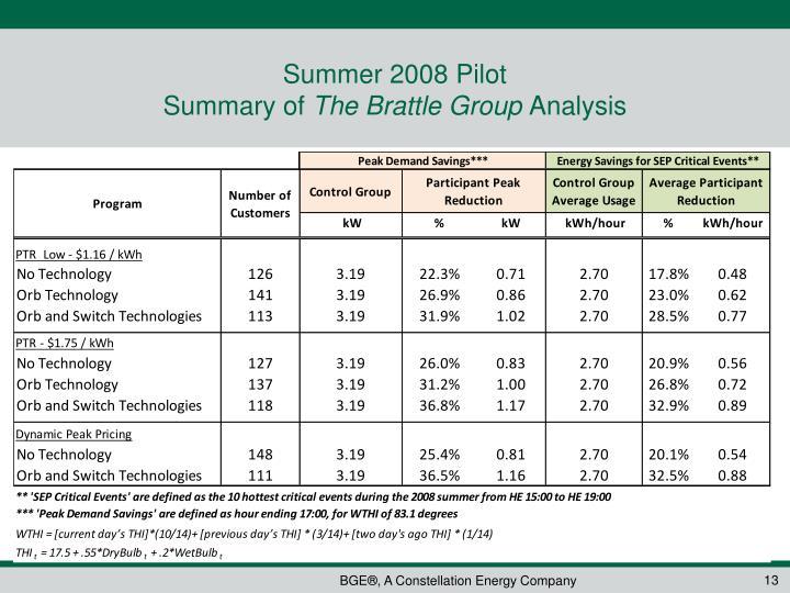 Summer 2008 Pilot