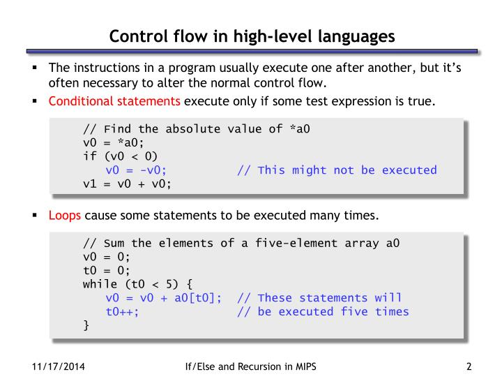 Control flow in high level languages