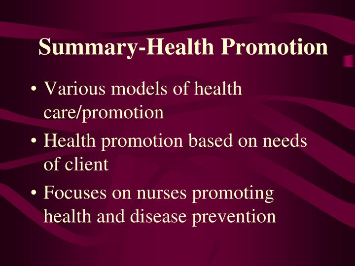 Summary-Health Promotion