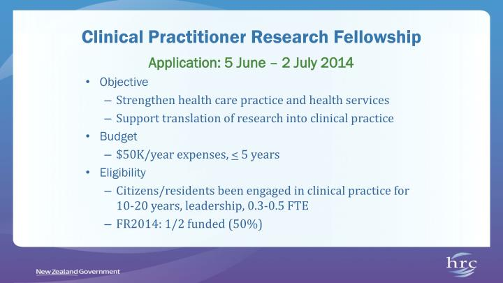 Clinical Practitioner Research Fellowship