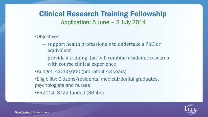 Clinical Research Training Fellowship