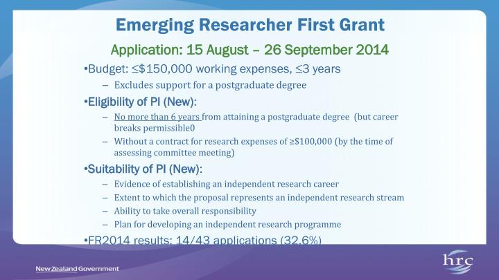 Emerging Researcher First Grant