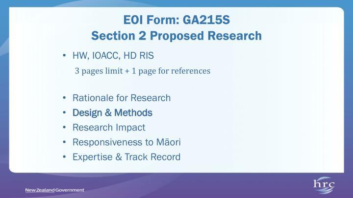 EOI Form: GA215S