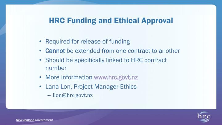 HRC Funding and Ethical Approval