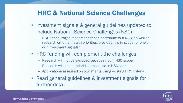 HRC & National Science Challenges