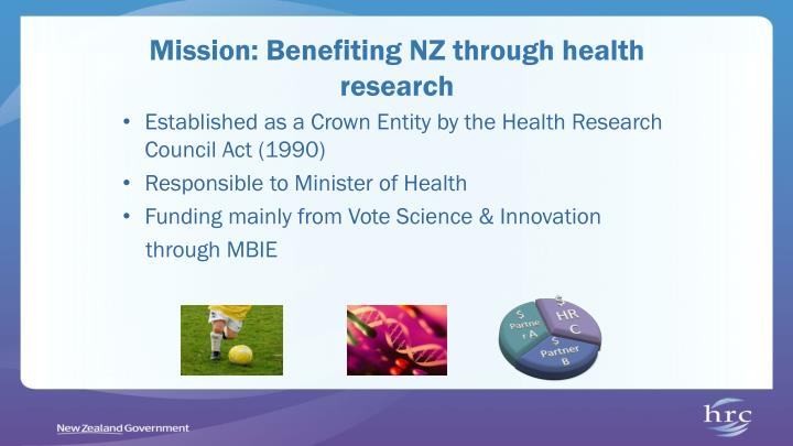 Mission benefiting nz through health research
