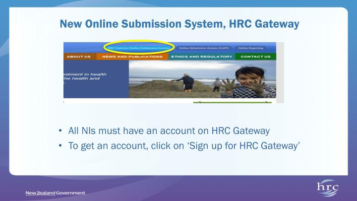 New Online Submission System, HRC Gateway