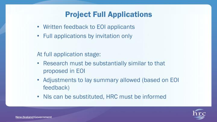 Project Full Applications