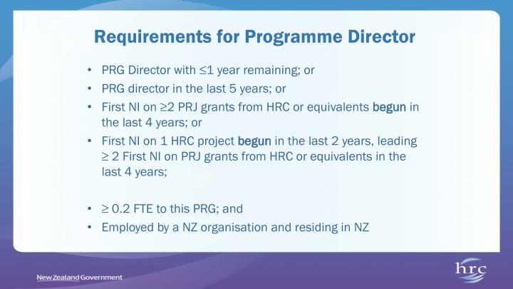 Requirements for Programme Director