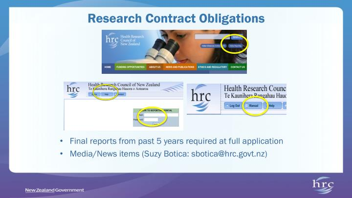 Research Contract Obligations
