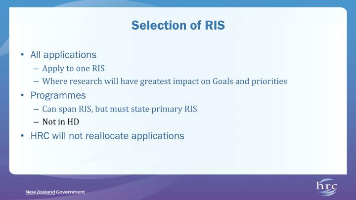 Selection of RIS