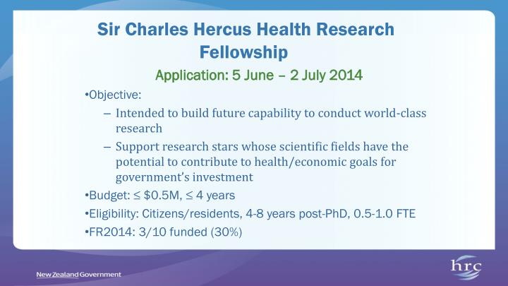 Sir Charles Hercus Health Research Fellowship