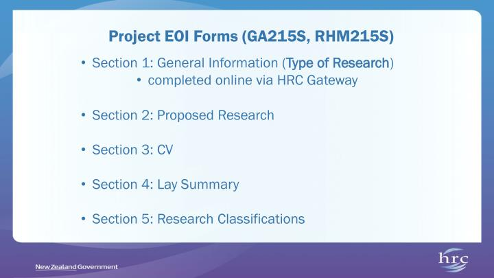 Project EOI Forms (GA215S, RHM215S)