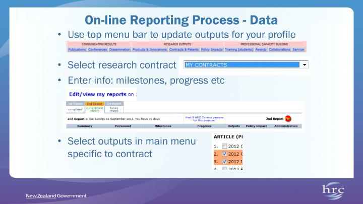On-line Reporting Process - Data