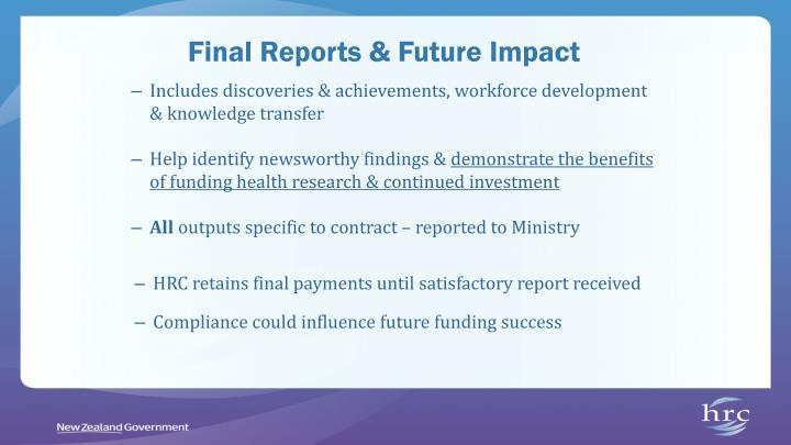 Final Reports & Future Impact