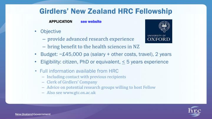 Girdlers' New Zealand HRC Fellowship