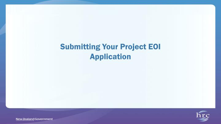 Submitting Your Project EOI Application