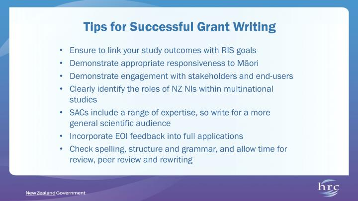 Tips for Successful Grant Writing