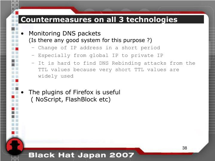 Countermeasures on all 3 technologies