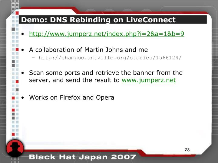Demo: DNS Rebinding on LiveConnect