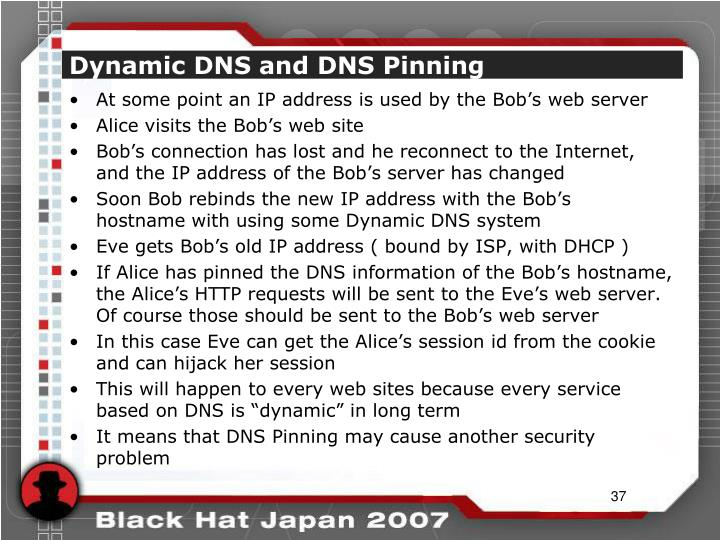Dynamic DNS and DNS Pinning