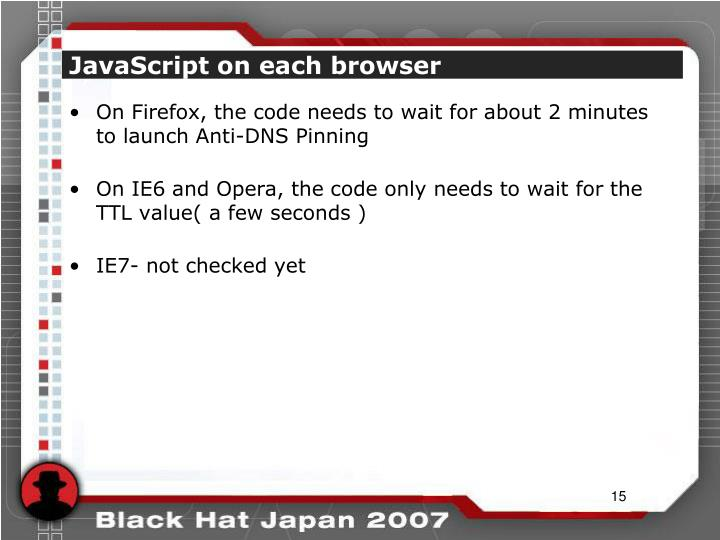 JavaScript on each browser