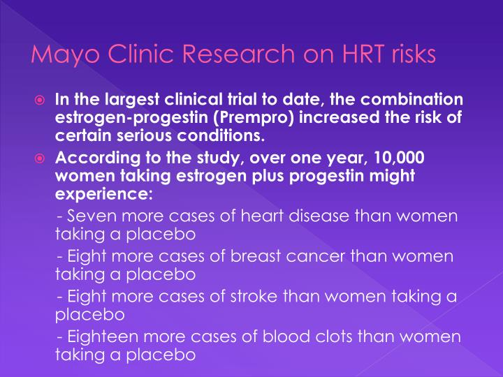 Mayo Clinic Research on HRT risks