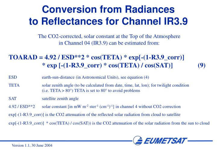 Conversion from Radiances