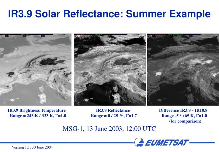 IR3.9 Solar Reflectance: Summer Example